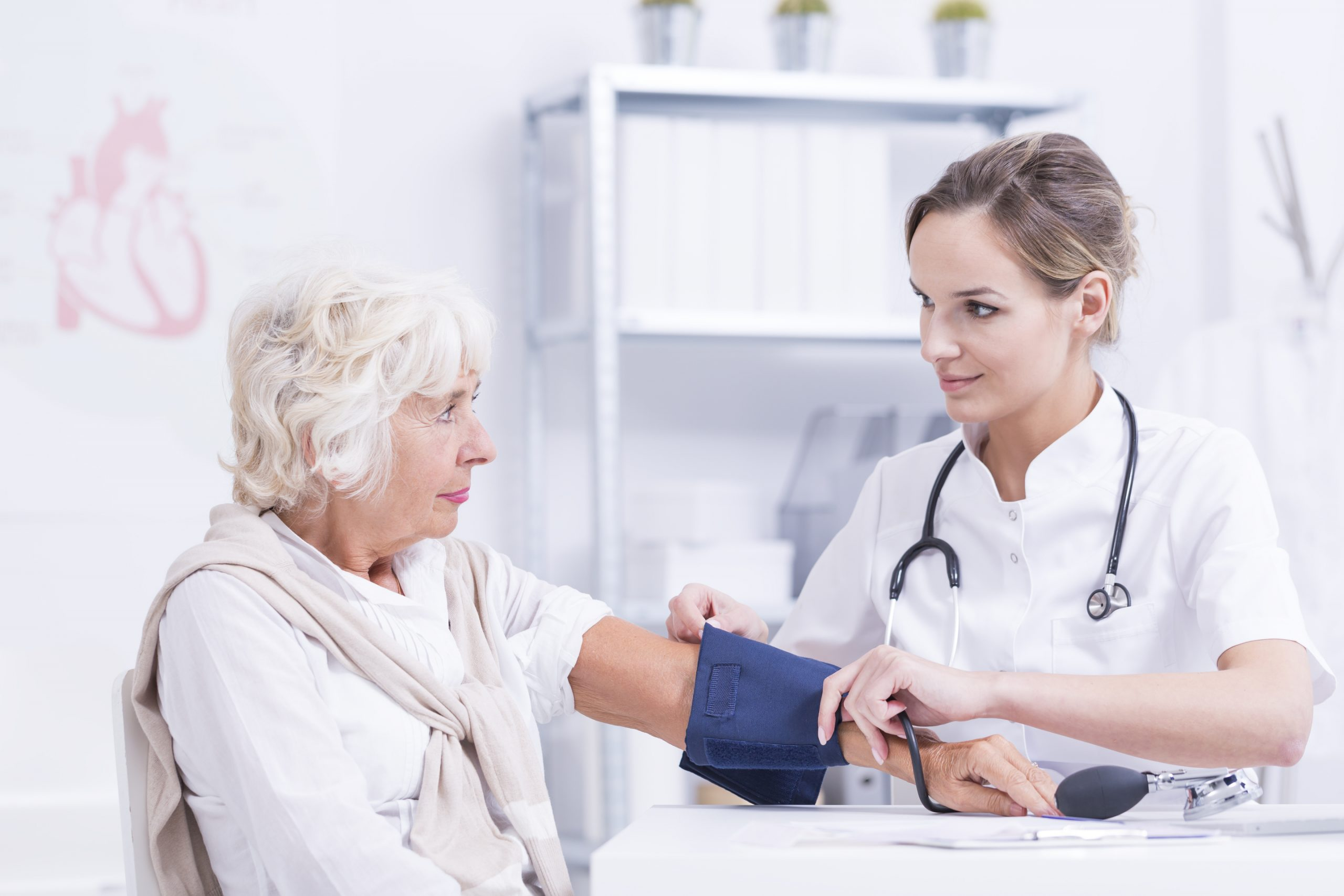 Senior,Woman,And,Doctor,Checking,Her,Blood,Pressure